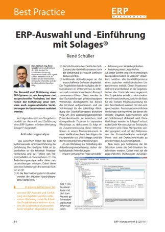 ERP Auswahl, ERP Einführung, Solages