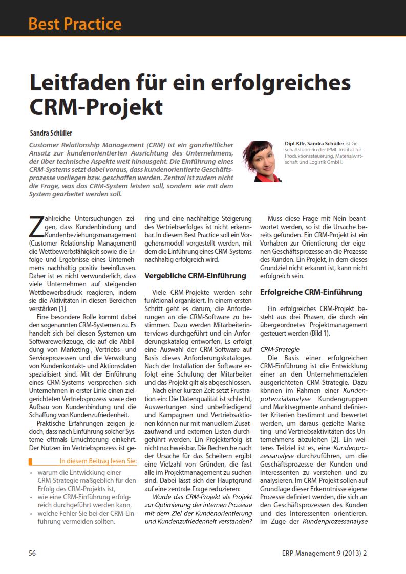 CRM System, CRM Auswahl, CRM Einführung
